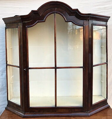 18Th Century William & Mary Period Wall Cabinet Vitrine W/tombstone Bonnet