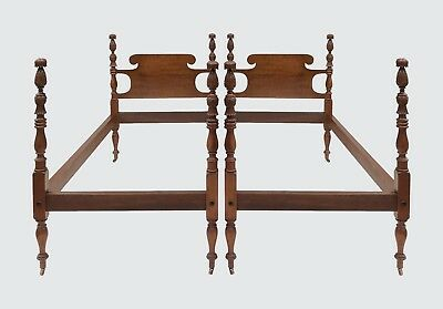 Pair Of Tiger Maple Antique Style Pineapple Carved Twin Beds By Israel Sacks Co