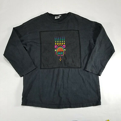 Vtg Johnny Was T-Shirt One Size Fits All Long Sleeve Shirt Tribal Rainbow Black
