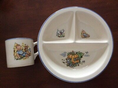 2 Two Pcs Child's Divided Dish & Mug, SALEM CHINA, OH - EXCELLENT!