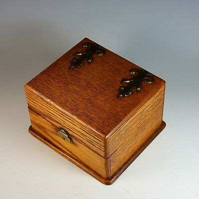 Antique Oak Jewelry Box with Brass Appliques and Tray
