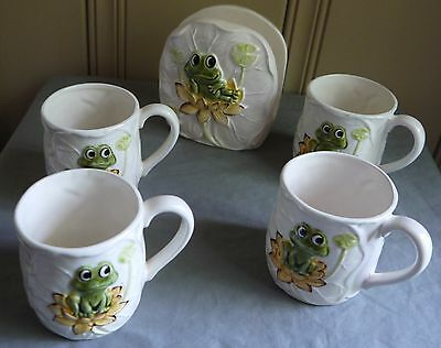 Vintage Sears Roebuck & Co Neil The Frog 1978 4 Coffee Cups & 1979 Napkin Holder
