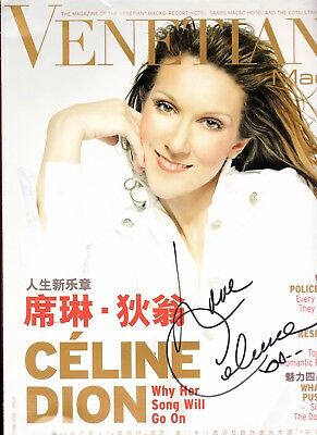 """Celine Dion Hand Signed Book """"venetian Ultra Rare Collectible Magazine"""