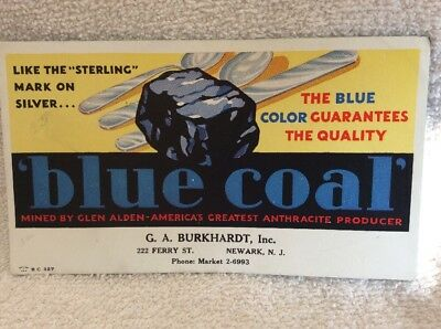 Vintage INK BLOTTER Blue Coal Anthracite Mined By Glen Arden Burkhardt Newark NJ