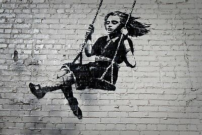 Banksy Framed Canvas Street  graffiti Urban  Art Print girl swing ready to hang