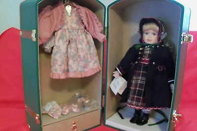 """Marie Osmond """"tricia' Porcelain Trunk Doll W/accessories"""