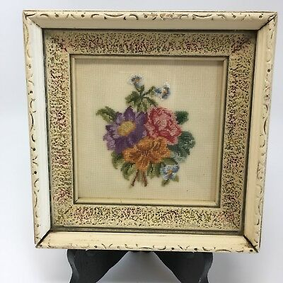 Petit Point Needlepoint Flowers picture in Antique wood frame Vintage 1930