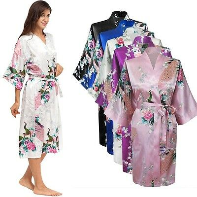 Peacock Satin Robe Kimono Womens Dressing Gown Vintage Wedding Bridal Bridesmaid