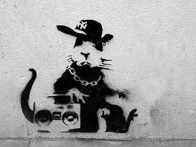 Banksy Framed Canvas Street  graffiti Urban  Art Print Rat gangsta stencil