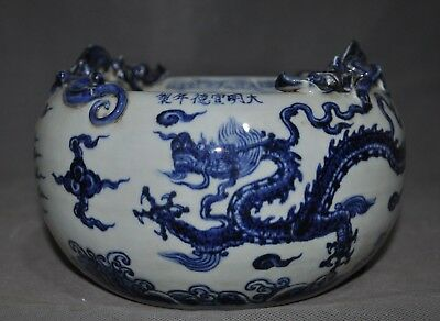 '宣德' Marked old Chinese Blue&white porcelain carving Dragon Tanks Crock pot jar