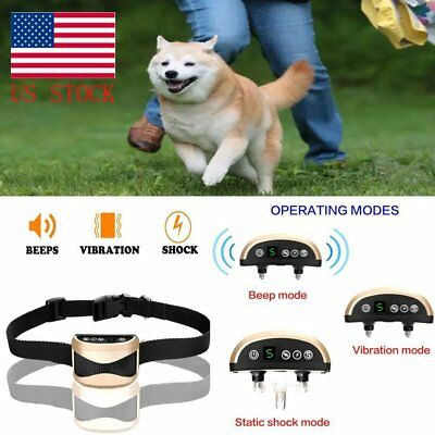 Rechargeable Adjust Electric Anti Bark Pet Dog No Barking Training Collar  USA