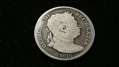 1816 . Great Britain . Half Crown . 1/2 cr . Large Old World Silver Coin