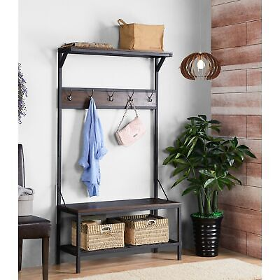 Brown Metal Wooden Hall Tree Coat Rack Hat Hooks Storage Stand Entryway Bench