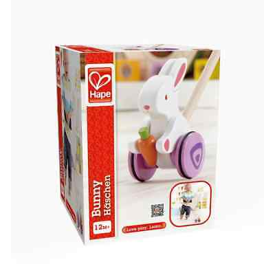 Hape Push & Pull Bunny Kids Toddler Wooden Toy - E0342