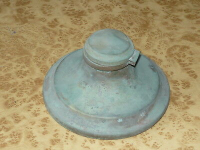 Antique Original Patina Inkwell Ink Pot Copper Brass Vintage Desk Ornament