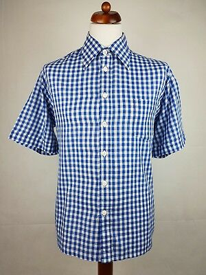 "Vtg 1970s Short Sleeve Blue Gingham PolyCotton Shirt Mod Weller -17""/XL- EU22"