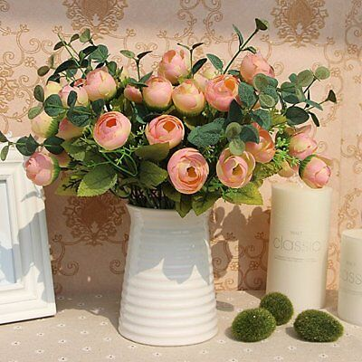 10 Heads Flowers Bouquet Artificial Fake Flower Table Spring Rose Home Decor