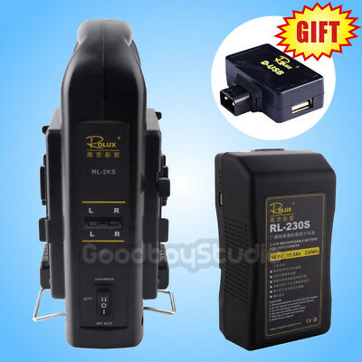 Rolux RL-230S 230Wh Sony V-mount Li-ion Battery + RL-2KS Dual Socket Charger Kit
