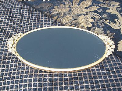 REDUCED! ELEGANT Vintage Matson Style BLACK Glass GOLD ROSE Oval Perfume Tray