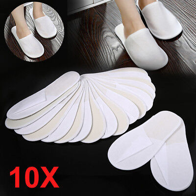 10 Pairs White Towelling Closed Toe Hotel Guest Slippers Spa Shoes Disposable GL