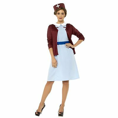 Adult Ladies Vintage Wartime Hosptial Nurse Fancy Dress Book Day Week Costume