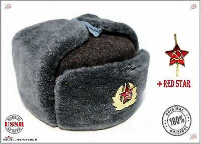 Authentic Soviet ushanka,Russian fur hat+2Badge,USSR Army soldier winter caps ☆