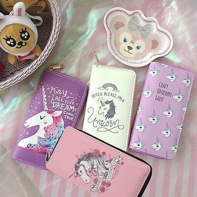 Fashion Ladies Unicorn Wallet Print Long Coin Purse Womens Card Holder New - FI