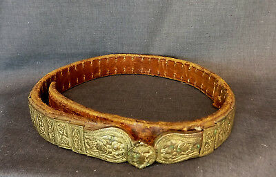 ANTIQUE VINTAGE FOLK BALKAN BULGARIAN HANDWROUGHT BUCKLE BELT from Thrace