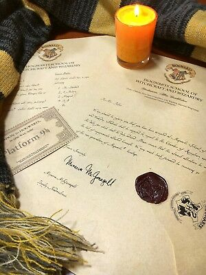 Personalized - Hogwarts Acceptance Letter and glitter train ticket