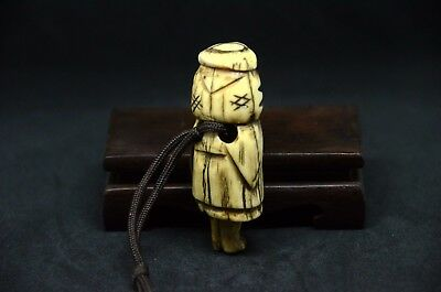 Japanese Antique Stag Antler netsuke of old Monk Edo period