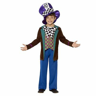 Kids Boys Deluxe Mad Hatter Wonderland Fairytale Fancy Dress Book Day Costume