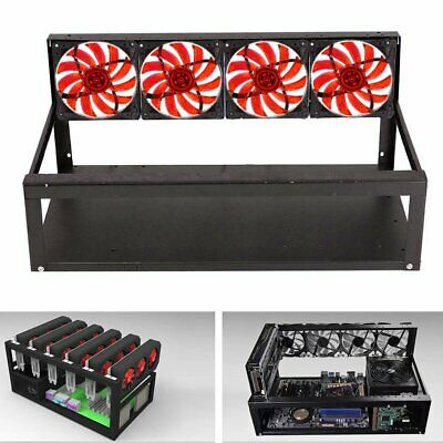 6 GPU Mining Rig Aluminum Case + 4 Fans Open Air Frame for ETH ZEC/Bitcoin New