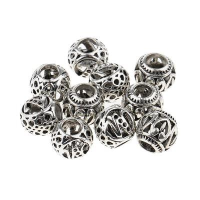 10 Pcs Tibetan Silver Metal Beads Set Dreadlock Beads Cuffs 5mm Hole Jewelry