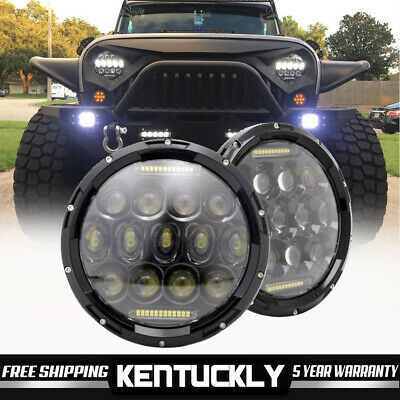 2Pcs 7'' LED Round Headlights Hi/Lo Beam DRL Driving Lamp For Peterbilt 379 359