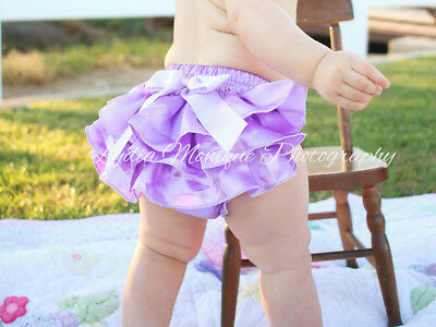 Baby girl diaper cover ruffle bloomers lavender light purple 12-18 mo.