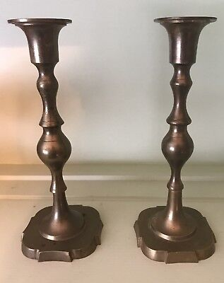 """Vintage Pair of Old Brass Matching Candle Holders / Sticks 8.25"""" Nice Patina"""