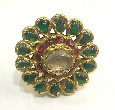Vintage antique solid 20K Gold jewelry Diamond Polki Ruby Emerald Ring