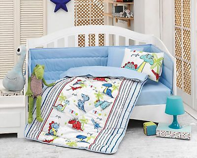 100% Cotton Dino Dinosaurs Toddlers Crib Bedding Baby Quilt Set 6 PCS Blue