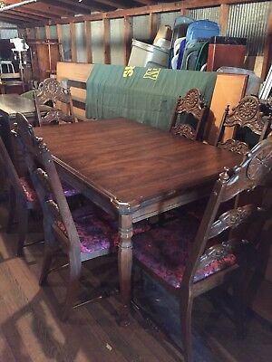Vintage 1970's Dining Table Chairs Spanish Style Ornate Spindle Legs