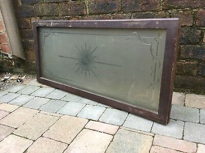 Old Reclaimed Etched Glass Pub Window Thick Oak Frame Rectangular