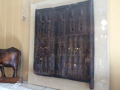Vintage Grainary Door Framed South African Dogon Tribe