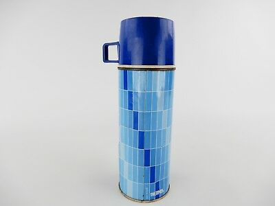 Vintage Blue Plaid Metal Thermos Glass Interior 22A63 King Seeley