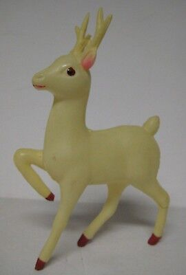 "Vintage REINDEER Celluloid JAPAN White Deer Christmas 6.5"" Soft Plastic Figure 3"