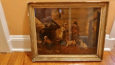 Antique Original Civil War Era Family Scene Capt. Allan  Painting - Framed