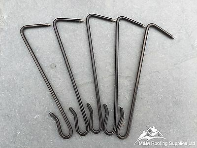 SLATE HOOKS / 100mm / POINT DRIVEN / 316 GRADE / STAINLESS STEEL / BLACK COATED