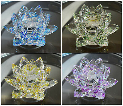 Large Crystal Lotus Flower Ornament With Gift Box  Crystocraft Home Decor