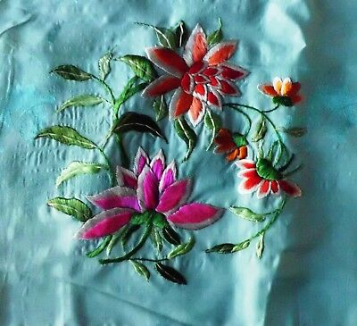 Vintage Chinese Handed Silk Embroidered Scarf~Peony  ~1930'S广绣~牡丹花~头巾