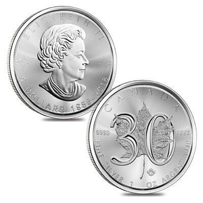Lot of 2 - 2018 1 oz Silver Canadian Maple Leaf 30th Anniversary $5 Coin BU