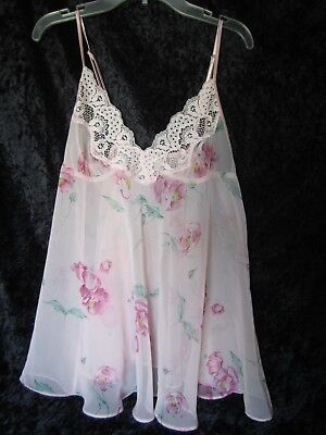 Frederick's of Hollywood Pink Lace Babydoll Chemise Nightie Small