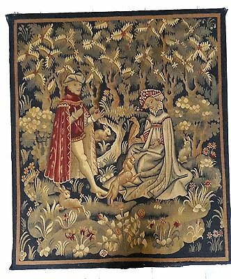 """A Good Antique 19th Century Medieval Style Tapestry """"L'Offrande du Coeur"""""""